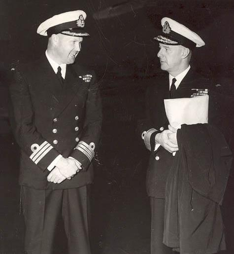 Cdr Webber and Harry DeWolf circa 1955. (Photo via BrianWebber)